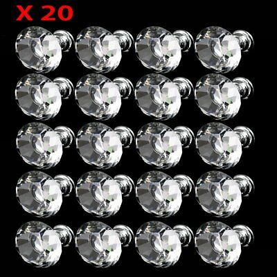 20x Diamond Crystal Glass Clear Handle Door Cabinet Drawer Knobs 30mm Set EW