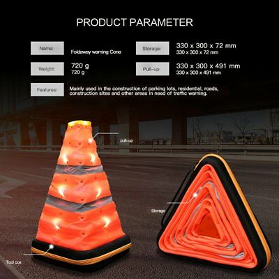 Triangle Emergency Warning Cone Road Flasher Reflective Safety Signs Foldable