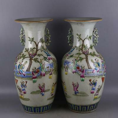 China old porcelain hand painted QING GuangXu pastel children play vase A pair