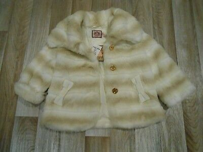 New With Tags Juicy Couture Absolutely Stunning Faux Fur Cream Coat Age 8