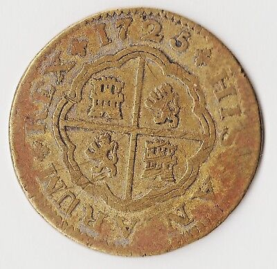 1725 Phillip V Contemporary Brass Two Reales (Pistareen) Seville Condition High