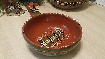 """VTG Mexican Handmade 6"""" Soup Bowl Pottery Red Clay Hand Painted Primitive Signed"""