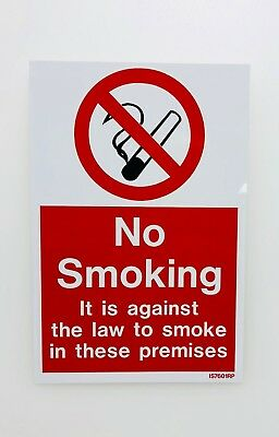 No Smoking warning stickers *Pack of 5* 150x200mm Sign adhesive Backed