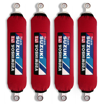 Red Suzuki Shock Covers King Quad 300 400 450 500 700 750 (Set 4) new