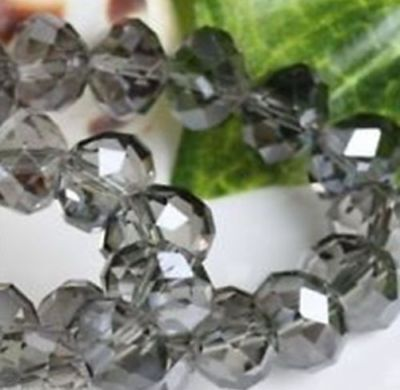 70pcs 6*8mm  Gray Diamond Cut Beads Crystal Beads