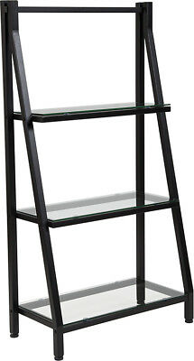 Contemporary Stylish Tempered Glass Bookshelf with Black Metal Frame