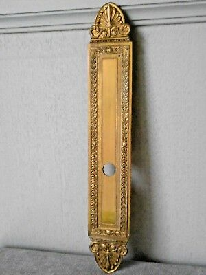 Antique SUPERB FRENCH BRASS door Backplate PUSH FINGER PLATE