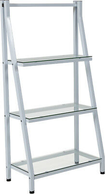 Contemporary Stylish Tempered Glass Bookshelf with White Metal Frame
