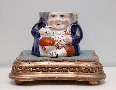 A Charming c19th Antique Staffordshire Toby Jug / Pot / Jar