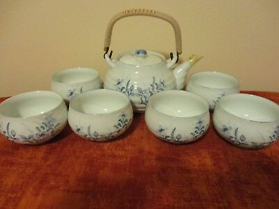 VINTAGE Japanese Porcelain Kutani teapot and 6 cups with Bamboo Handles