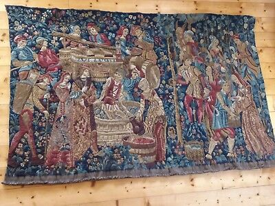 """Tapestry, Large, A French Woven Woolen, Medieval Wall Hanging 76"""" x  48.5"""""""