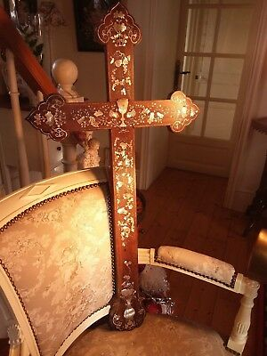 Apostle Cross, Huge 85cm, Chinese Macau Wood & Carved Mother of Pearl 18th/19th