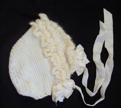 Darling vintage hand made crocheted baby or doll bonnet white