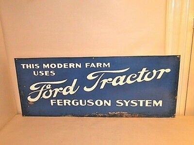 Vintage Ford Tractor Ferguson System Metal Advertising Sign  Heavy gauge 1-sided
