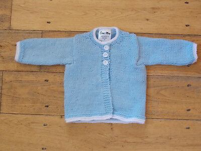 Hand Knitted Blue And White Baby Cardigan BNWT 0-3 /3-6/ 6-9 Months