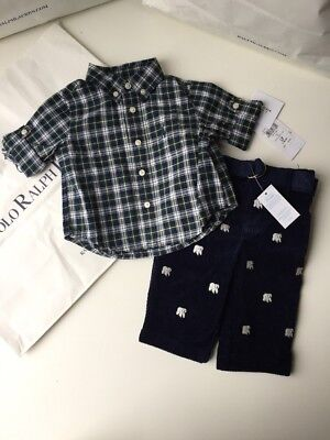 BNWT Polo Ralph Lauren Boys Designer Trouser Shirt Set 18M 12MTHS RRP £89.00