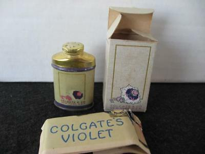Vintage Mini Sample Colgate's Violet Talcum Powder Tin