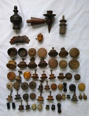 Antique Vintage Salvage Wood Hardware Lot Drawer Pull Knobs Finial Sconce