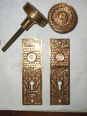 Antique Bright Brass Eastlake Door knob and Backplate set