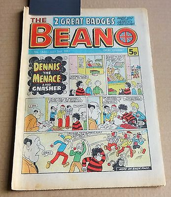 """D.C.THOMPSON  """"BEANO""""  COMIC #1824   DATED  JULY 2nd 1977"""