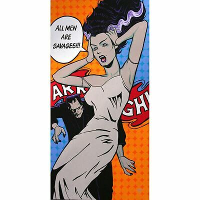 All Men Are Savages by Mike Bell Bride of Frankenstein Cartoon Canvas Gicle