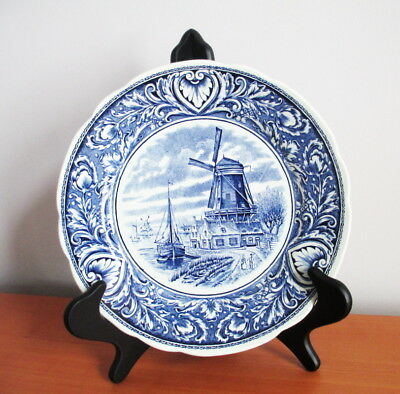 """Boch Delfts Wall Plate Windmill Boat Canal Royal Sphinx Holland Blue White 10"""""""