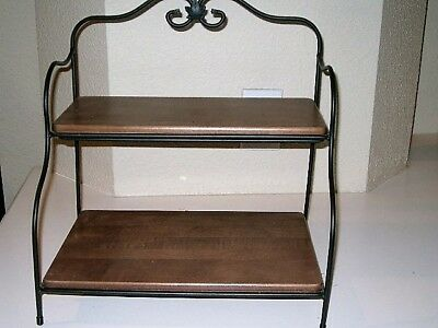 Longaberger Wrought Iron Small Bakers Rack 2 Tier Stand Rich Brown Shelves