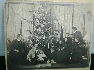 Antique c1900 Victorian Christmas Tree Mounted Photo? Post Card? 5x4