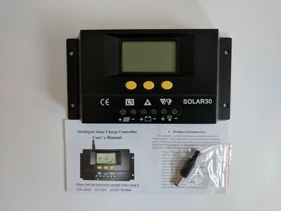 Solar Panel Battery Charge Controller 30A Regulator 12v 24v Auto Lighting Switch