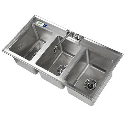 "37"" Three Compartment 10""x14"" x10"" Bowl Stainless Steel Drop In Sink W/ Faucet"
