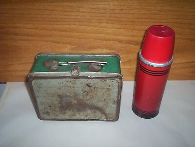 Vintage ICY-HOT Vacuum Bottle Metal Thermos CT USA & A Square Metal LunchBox Lot