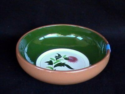 """Stangl Pottery Pink Thistle 9"""" Salad Serving Bowl Brown/Green"""