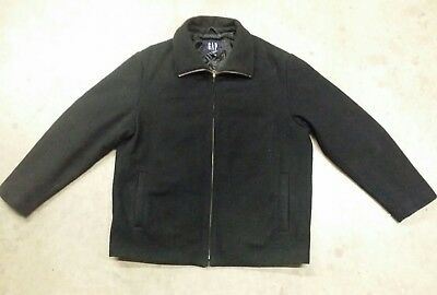 GAP Black WOOL Coat Jacket MENS Size XL Extra Large Formal Casual Full Zip Front