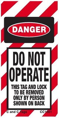 Do Not Operate Tag, Danger, LOTO, 6x3, safety, vinyl, C and C Tags, 25 PK