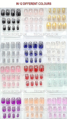 False Fake Nails Full Nail tips acrylic  French artificial nails art With glue