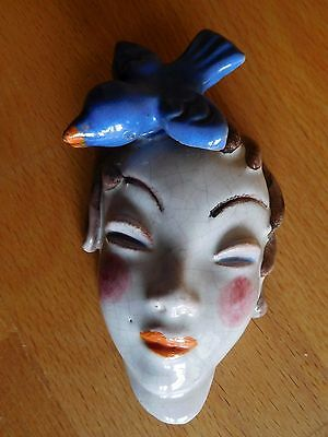 Rare Art Deco Marked Walter Bosse Austria Wall Mask Of Female Head With Bird On