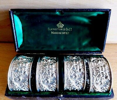 Cased Set Of 4 The Green Man Silver Napkin Rings By Elkington & Co Ld C 1897