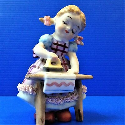 Hand Painted Porcelain Figurine - Sweet Little Girl Ironing - 11.5cm Ornament