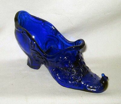 Mosser Elf Cobalt Blue With Curled Toe Victorian Rose Shoe