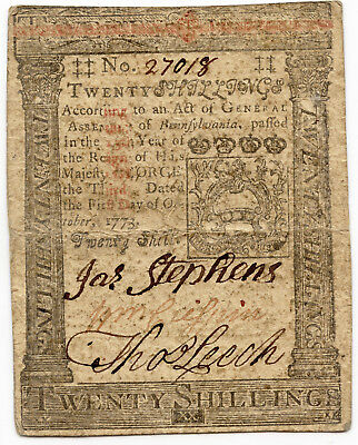 COLONIAL CURRENCY - PENNSYLVANIA OCTOBER 1ST 1773 Twenty 20 Shillings