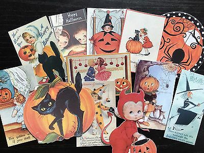 BB94 -- Lot of 12 Vintage Halloween Greeting Card  DIE CUTS for CARD MAKING