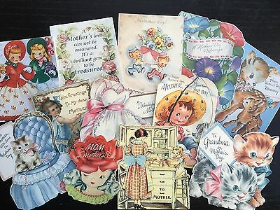 BB90 -- Lot of 12 Vintage Mother's Day Greeting Card  DIE CUTS for CARD MAKING
