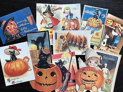 BB93 -- Lot of 12 Vintage Halloween Greeting Card  DIE CUTS for CARD MAKING