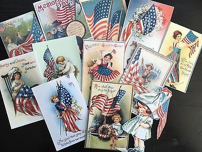BB88 -- Lot of 12 Vintage Memorial Day Greeting Card  DIE CUTS for CARD MAKING