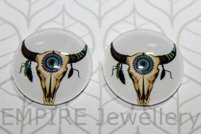 1 x Longhorn Steer Skull 25x25mm Glass Dome Cabochon Cameo Cow Bull Cowboy