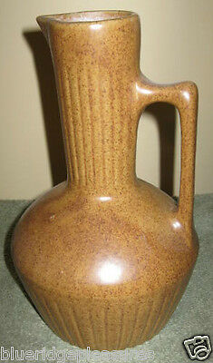 "9 1/2"" Ceramic Golden Brown Pitcher w/USA & Maple Leaf Mark - Monmouth Pottery"