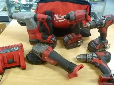 Milwaukee 18v 5 pce Tool Combo 3x 18volt Lithium Ion Batteries Charger Case
