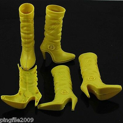 """11"""" Doll Shoes/Boots High Heel Shoe-Yellow"""