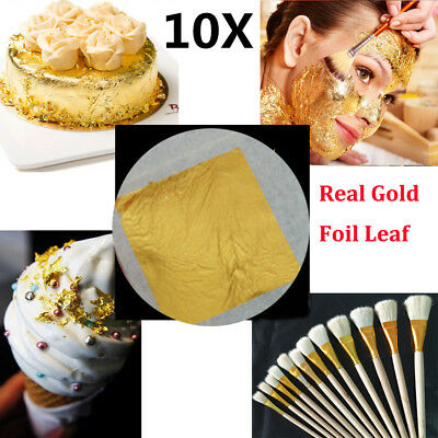 10x Real Gold Foil Leaf 99.99% Pure 24K Food Cake Decor Edible Face Beauty TY