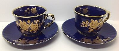 Pair of cobalt blue and 24 kt gold demitasse cups and saucers, Wunsiedel Germany